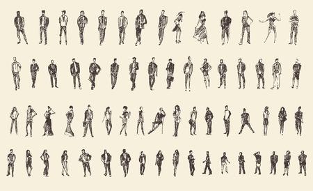 人々、男性と女性と子供のビジネス スケッチ ベクトル図、シルエット