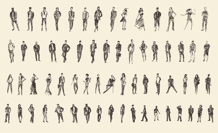 Gente, hombre y mujer y niños negocios boceto ilustración vectorial, silueta