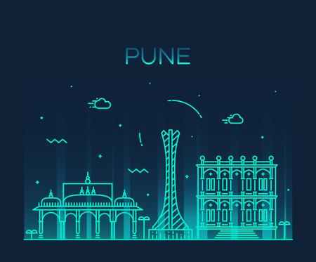 tower tall: Pune skyline detailed silhouette Trendy vector illustration linear style Illustration