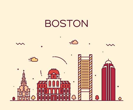 Boston skyline detailed silhouette Trendy vector illustration linear style Иллюстрация