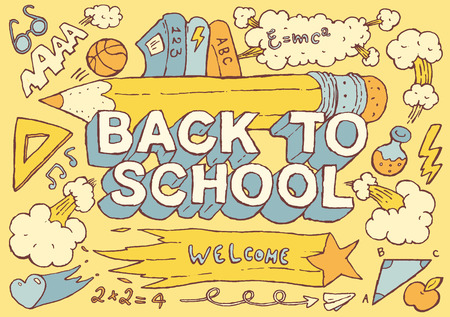 of back: Back to school background design template big set of school theme icons hand drawn vector illustration