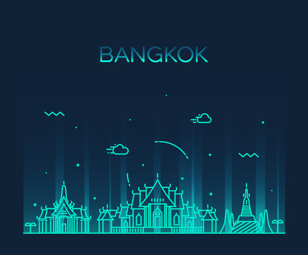 thailand temple: Bangkok skyline detailed silhouette Trendy vector illustration linear style