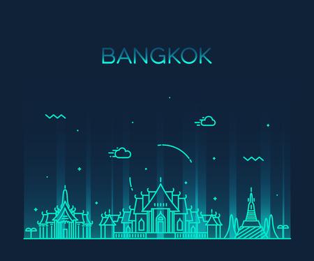 templo: Horizonte de Bangkok silueta detallada ilustración del vector de moda estilo lineal