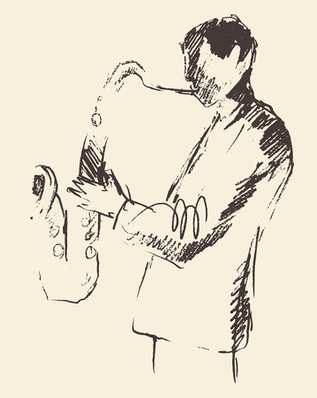 funk music: Concept for jazz poster Man playing saxophone Vintage hand drawn illustration sketch
