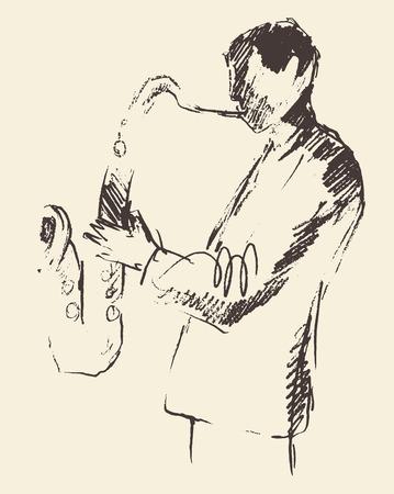jazz man: Concept for jazz poster Man playing saxophone Vintage hand drawn illustration sketch