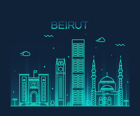 trendy: Beirut skyline detailed silhouette Trendy vector illustration linear style