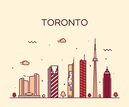 toronto: Toronto skyline detailed silhouette Trendy vector illustration linear style Illustration