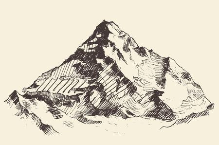 Bergen schets contouren gravure hand getrokken vector Stock Illustratie