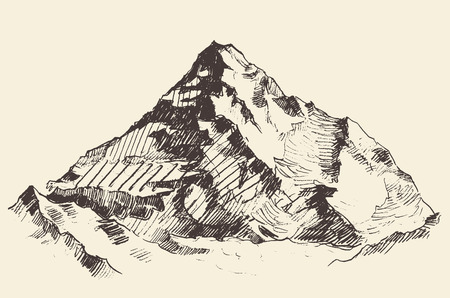 Bergen schets contouren gravure hand getrokken vector
