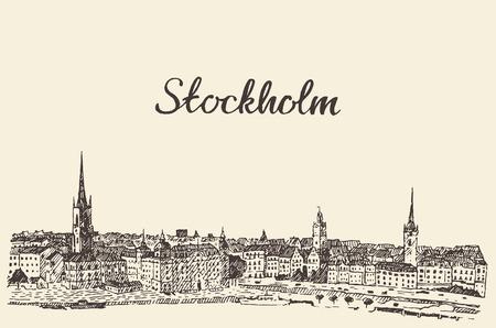 ストックホルム スカイライン ビンテージ ベクトル刻まれたイラスト手描きのスケッチ  イラスト・ベクター素材