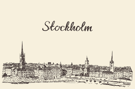 Stockholm skyline vintage vector engraved illustration hand drawn sketch Ilustração
