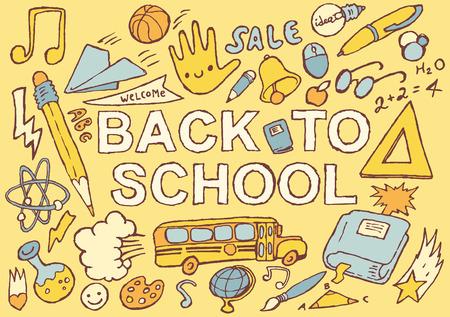 Terug naar school achtergrondontwerpmalplaatje grote set van school thema iconen hand getrokken vector illustratie