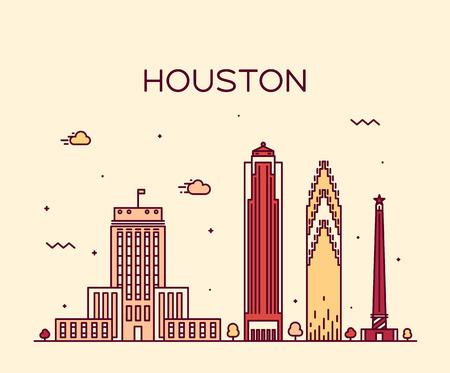 houston: Houston skyline detailed silhouette Trendy vector illustration linear style Illustration