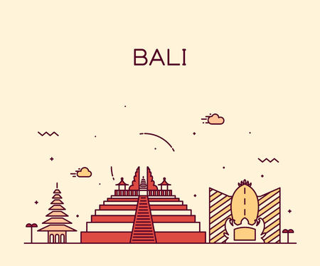 indonesia: Bali skyline detailed silhouette Trendy vector illustration linear style
