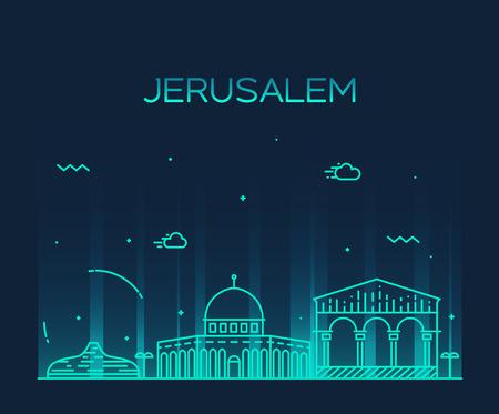エルサレムのスカイライン詳細シルエット トレンディなベクトル イラスト ライン アート スタイル