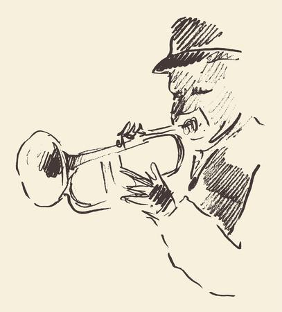 Concetto per il jazz manifesto Uomo che suona la tromba Vintage mano disegnato schizzo illustrazione Archivio Fotografico - 43620889