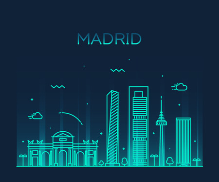 Madrid skyline detailed silhouette Trendy vector illustration linear style 向量圖像