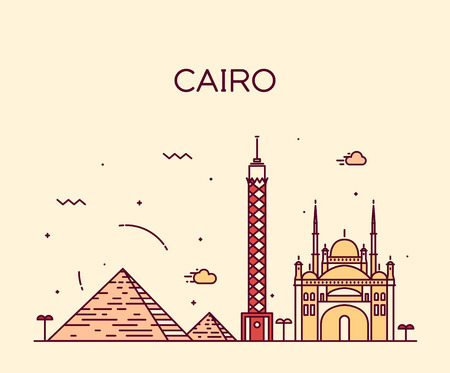 nile: Cairo skyline detailed silhouette Trendy vector illustration linear style Illustration