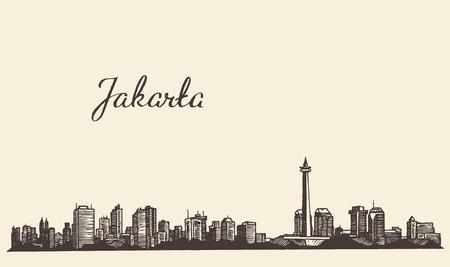 boceto: Ilustración grabada boceto dibujado a mano Yakarta horizonte de la vendimia
