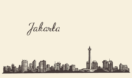 asia: Jakarta skyline vintage engraved illustration hand drawn sketch