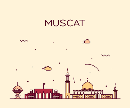 muscat: Muscat skyline detailed silhouette Trendy vector illustration linear style