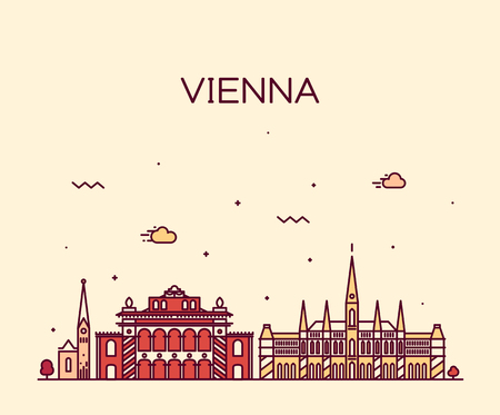 view: Vienna skyline detailed silhouette Trendy vector illustration linear style