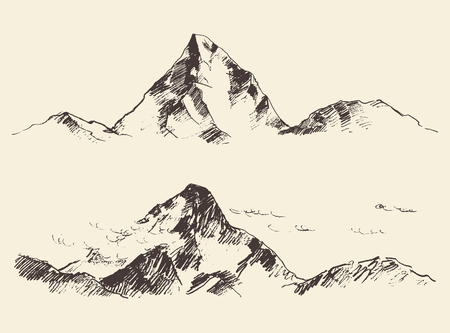 tirol: Mountains sketch contours engraving hand drawn vector Illustration