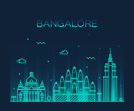 hindu temple: Bangalore skyline detailed silhouette Trendy vector illustration linear style