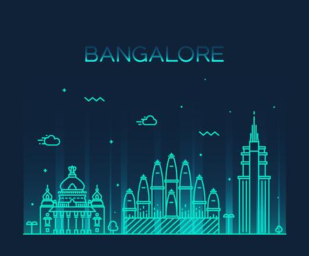 trendy: Bangalore skyline detailed silhouette Trendy vector illustration linear style