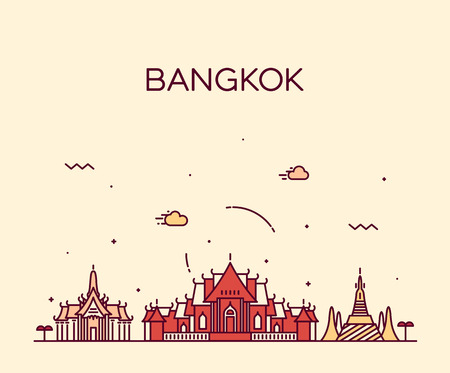 thai art: Bangkok skyline detailed silhouette Trendy vector illustration linear style