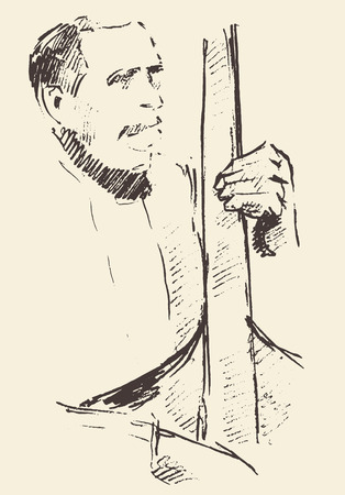 jazz man: Concept for jazz poster Man playing double bass Vintage hand drawn illustration sketch