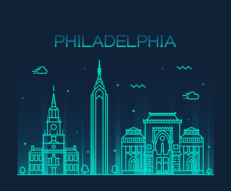 Philadelphia skyline detailed silhouette Trendy vector illustration linear style