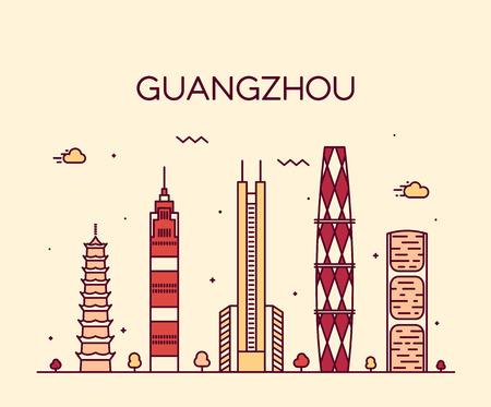 illustration line art: Guangzhou skyline detailed silhouette Trendy vector illustration line art style
