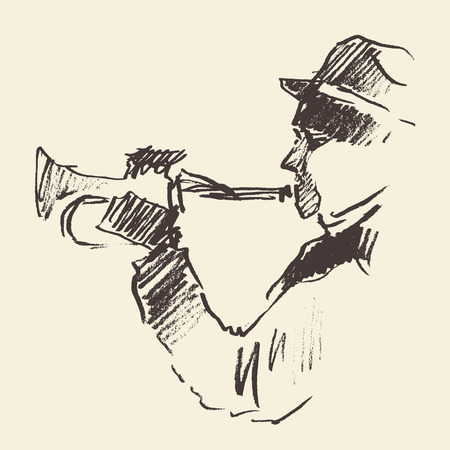 trumpet: Concept for jazz poster Man playing trumpet Vintage hand drawn illustration sketch