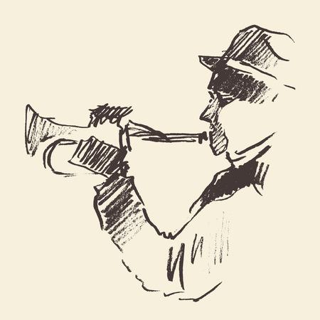 trompeta: Concepto para el cartel del jazz Hombre tocando trompeta Vintage mano dibujado ilustración boceto