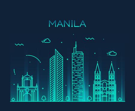 Manila skyline detailed silhouette Trendy vector illustration line art style