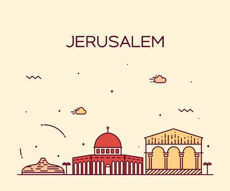 jerusalem: Jerusalem skyline detailed silhouette Trendy vector illustration line art style