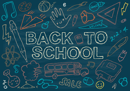 supplies: Back to school background design template big set of school theme icons hand drawn vector illustration