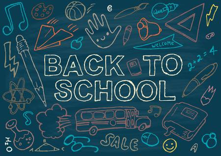 fournitures scolaires: Retour au modèle de conception de fond de l'école grosse série d'icônes du thème de l'école dessiné à la main illustration vectorielle Illustration