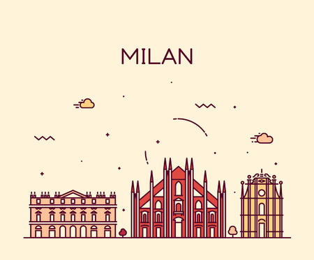 Milan skyline detailed silhouette Trendy vector illustration line art style