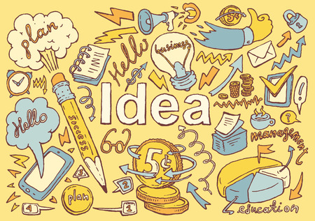 office icon: Business Idea doodles icons set sketch Vector illustration hand drawn background