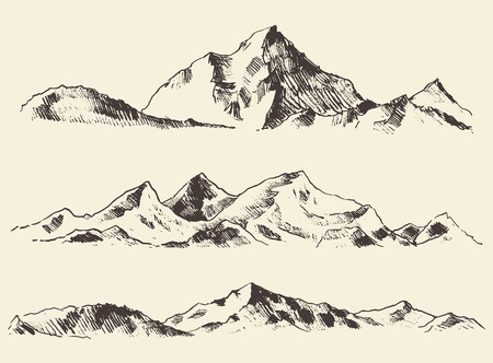 Mountains sketch contours engraving hand drawn vector Çizim