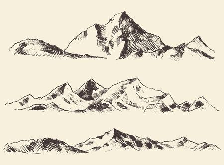 boceto: Vector dibujado Montañas contornos de dibujo grabado de la mano