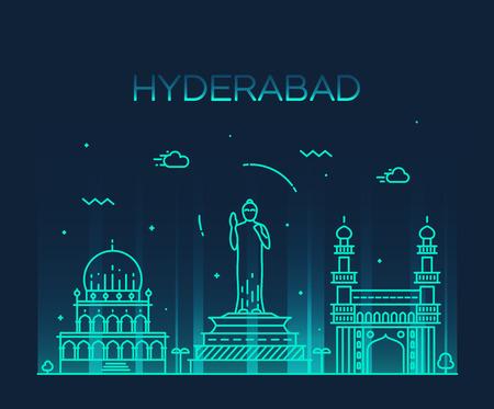 Hyderabad skyline detailed silhouette Trendy vector illustration linear style Illustration