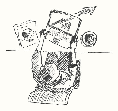 computer work: Sketch of man with computer office work Hand drawn illustration Top view Illustration