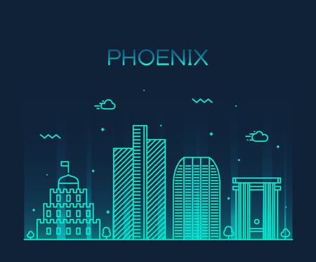 ave fenix: Horizonte de Phoenix silueta detallada ilustraci�n del vector de moda estilo lineal