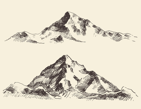 山スケッチ輪郭手描きベクトルを彫刻  イラスト・ベクター素材
