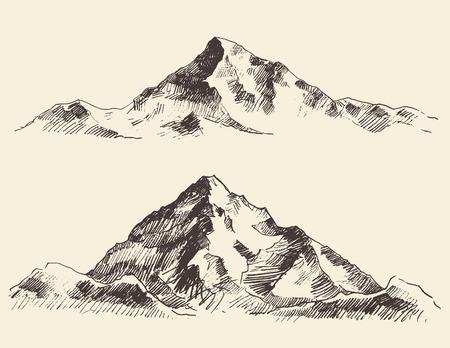 Mountains Skizzenkonturen Gravur Hand, die Vektor Standard-Bild - 43715541