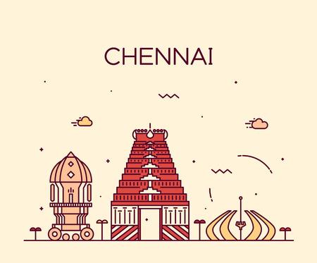 hindu temple: Chennai skyline detailed silhouette Trendy vector illustration linear style