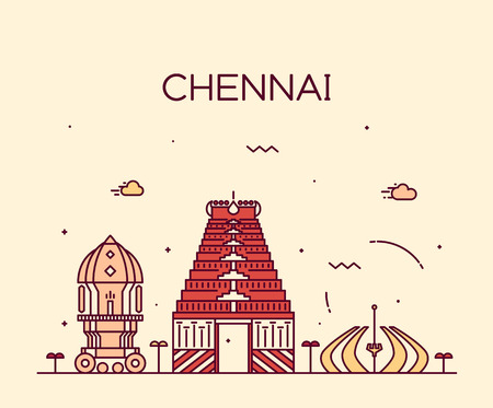 Chennai skyline detailed silhouette Trendy vector illustration linear style